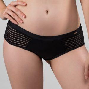 Hladké francouzské pruhované kalhotky v černé