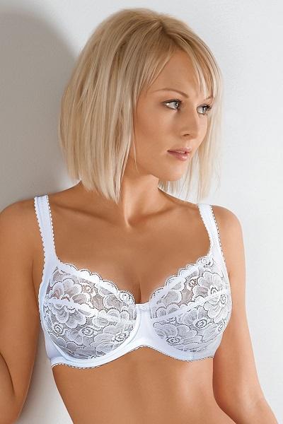 Bílá lehce průhledná krajková nevyztužená podprsenka Anette