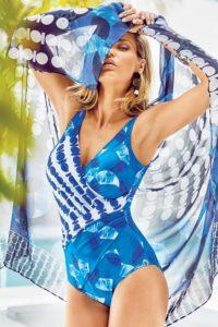 Italské jednodílné plavky v modré barvě Miradonna