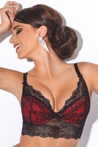 Černo-červená vyztužená podprsenka s luxusní krajkou Dolores