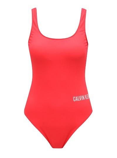 Výrazné červené jednodílné plavky Calvin Klein