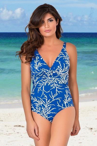 Modré jednodílné plavky bez kostic David Mare