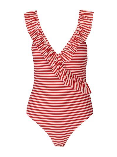 Červeno-bílé pruhované jednodílné plavky Y.A.S.