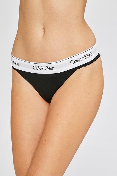 Dámské spodní prádlo – černo bílá Tanga Calvin Klein