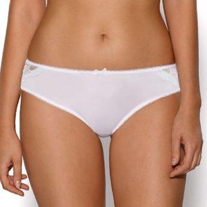Bílé Brazilky kalhotky s detailní krajkou