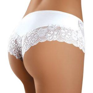 Bílé Brazilky kalhotky s květinovou krajkou