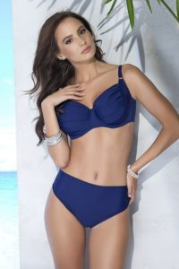 Nevyztužené dvoudílné dámské plavky v modré barvě