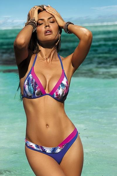 Pestrobarevné dvoudílné dámské plavky s push up