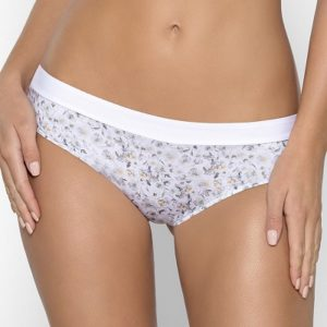 Bílé Brazilky kalhotky s motivem bílých květin