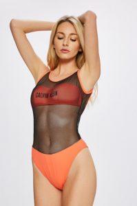 Jednodílné oranžové dámské plavky se síťovinou Calvin Klein