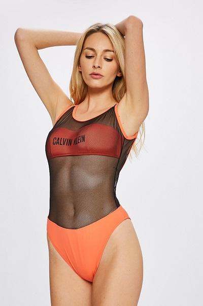 a7c3d17ba23 Jednodílné oranžové dámské plavky se síťovinou Calvin Klein - ONLYSHE