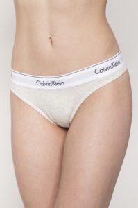 Dámské spodní prádlo – světlá žíhaná Tanga Calvin Klein