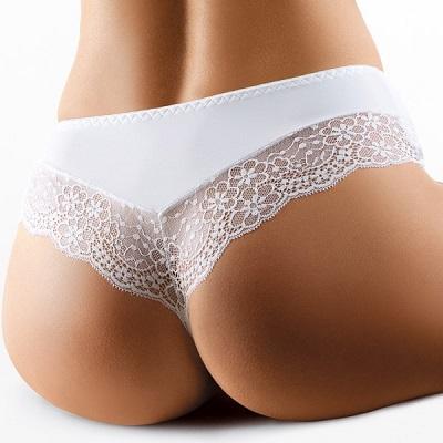 Bílé / černé Brazilky kalhotky s krajkou