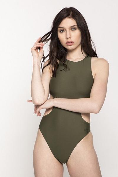 Zelené designové dámské jednodílné plavky Calvin Klein
