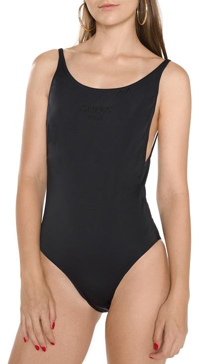 Černé dámské jednodílné plavky jednobarevné Guess