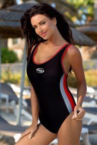 Dámské jednodílné sportovní plavky v černočervené