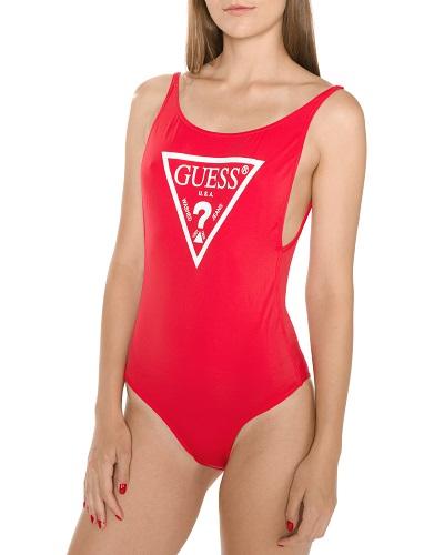 Červené dámské jednodílné plavky s nápisem Guess