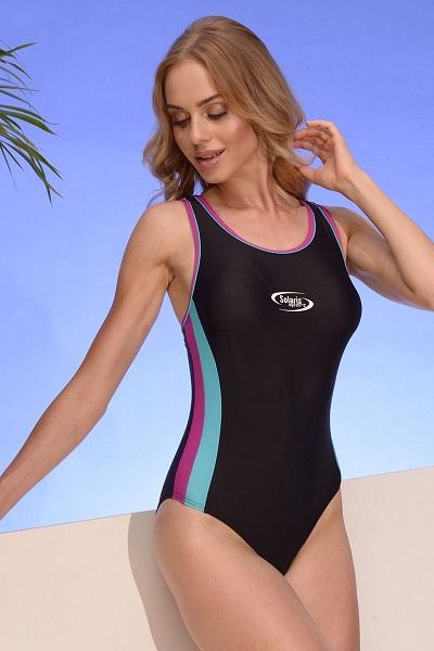 Dámské sportovní jednodílné plavky v černo-modro-fialové