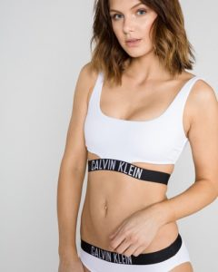 Bílé dvoudílné plavky s černými pruhem Calvin Klein – horní díl