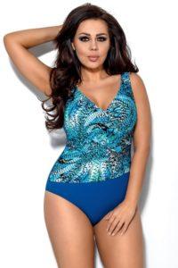 Modré jednodílné dámské plavky bez kostic