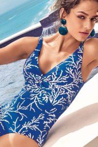 Modré svůdné dámské jednodílné plavky David Mare