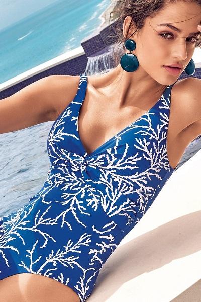 d6ae3bb5b41 Modré svůdné dámské jednodílné plavky David Mare
