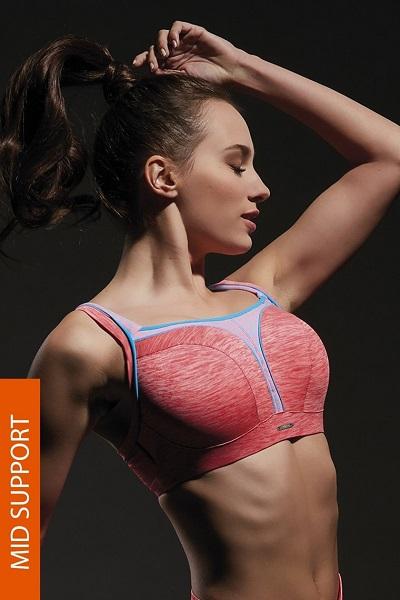 Oranžová sportovní podprsenka s kosticemi a střední úrovní opory