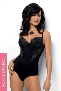 Luxusní jemné stahovací dámské body v černé barvě