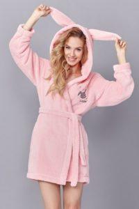 Růžový roztomilý dámský župan Rabbit