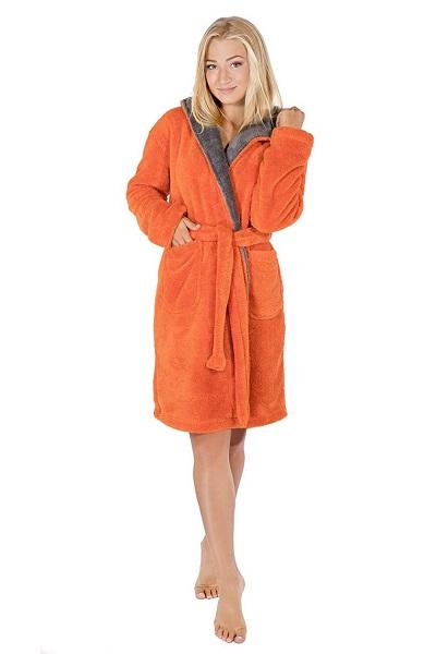 Netradiční oranžový hřejivý dámský župan