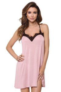 Růžová dámská noční košile s krajkou a třásněmi