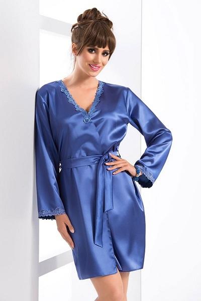 Modrý lesklý – saténový elegantní dámský župan s krajkou