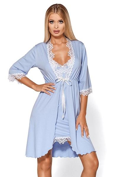 Luxusní světle modrý dámský župan s krajkou