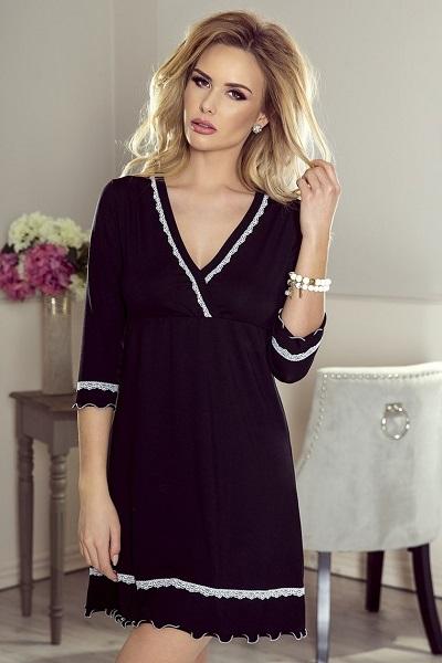 Pružná dámská noční košile Lea v černé barvě