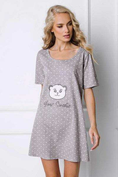 Šedá pohodlná dámská noční košile s medvídkem Bear