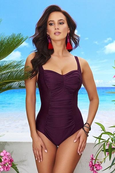 Stylové jednodílné plavky bez kostic Chloe Grape