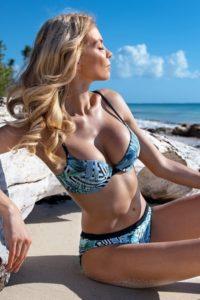 Tropické dámské dvoudílné plavky s push-up